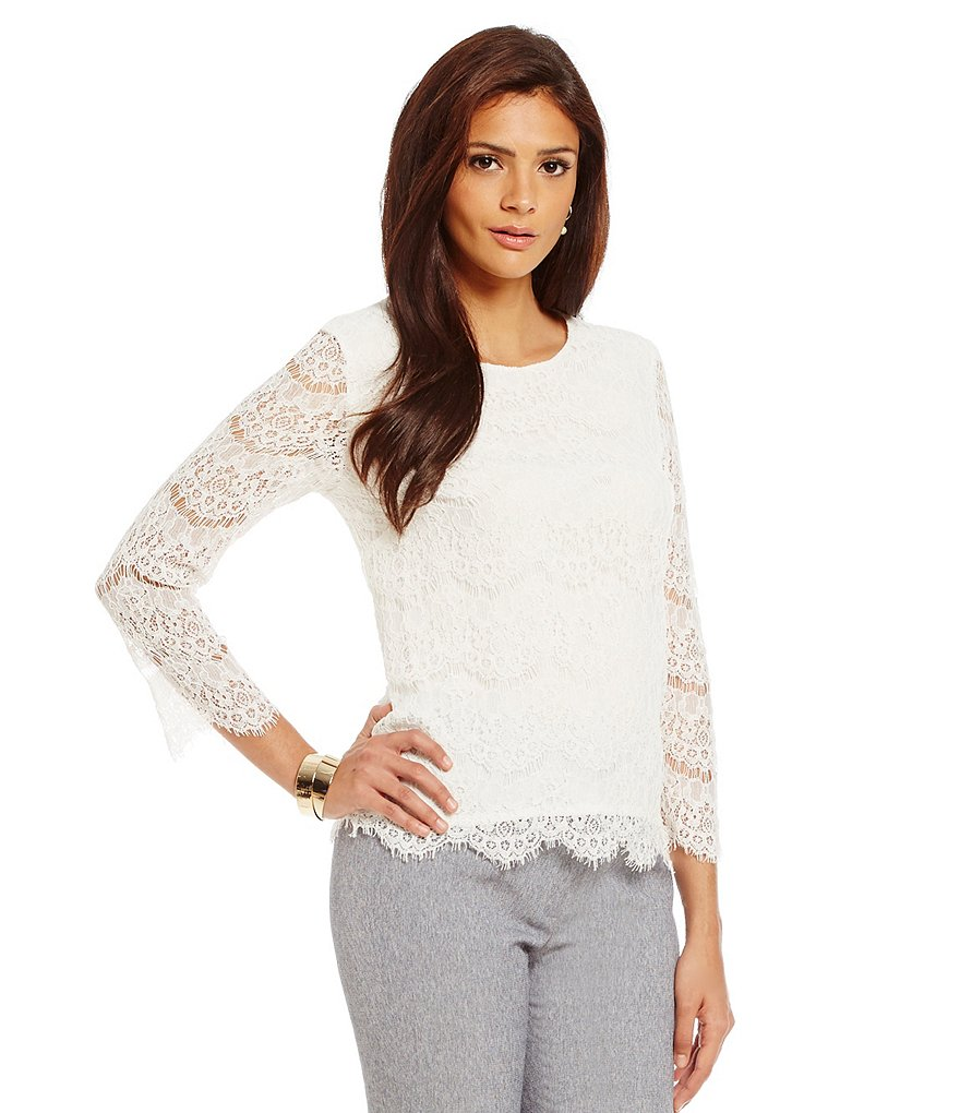 Alex Marie Aesthetic Allure Edna Lace Woven Top