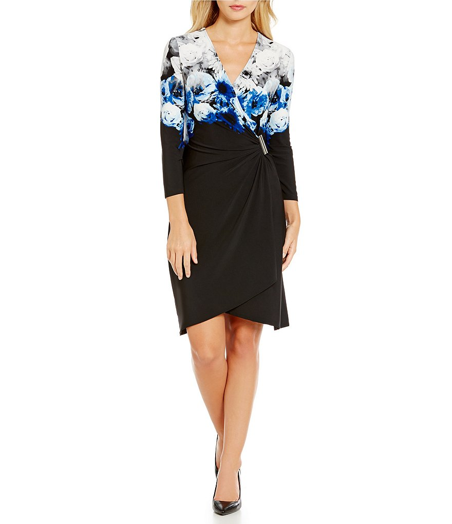 Calvin Klein Floral Border Print Faux Wrap Dress