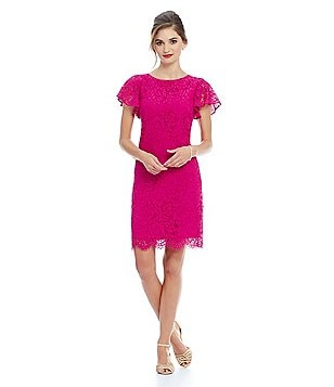 Alex Marie Aesthetic Allure Alicia Lace Fluttler Sleeve Dress