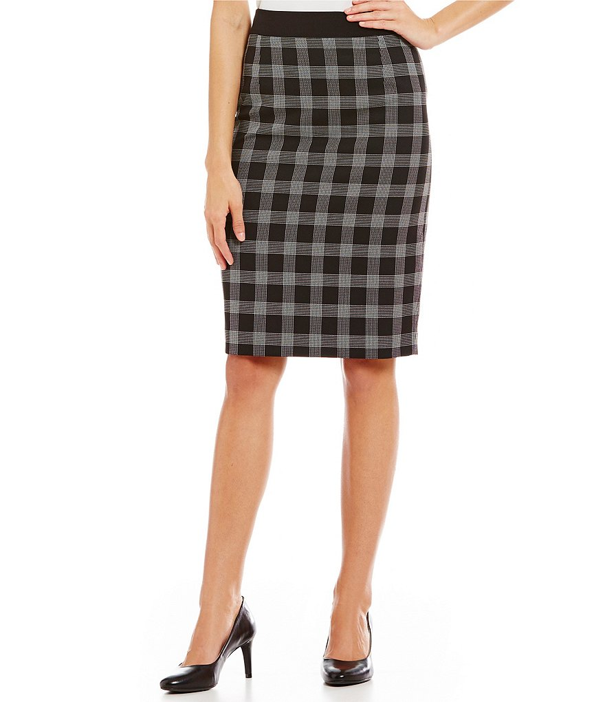 Alex Marie Aesthetic Allure Marybell Windowpane Pencil Skirt