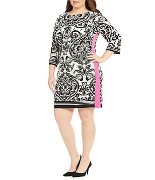 Eliza J Plus Round Neck 3/4 Sleeve Printed Sheath Dress