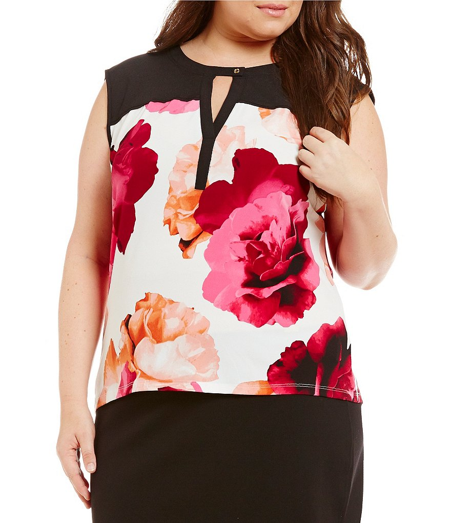 Calvin Klein Plus Sleeveless Keyhole Top