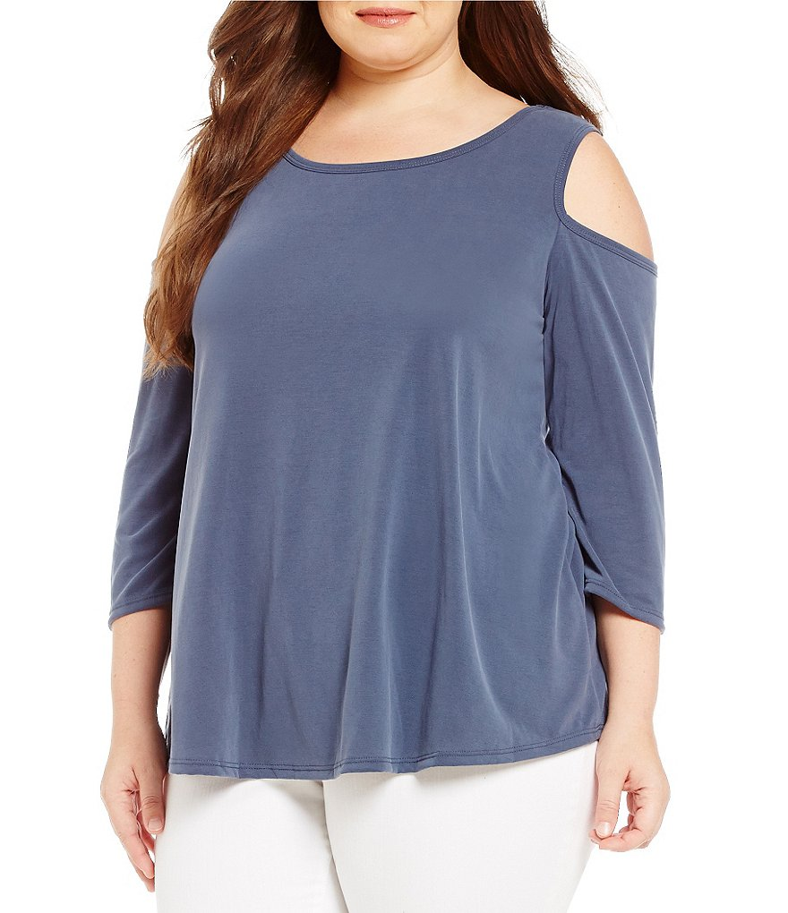 Moa Moa Plus Cold-Shoulder Loose Fit Top