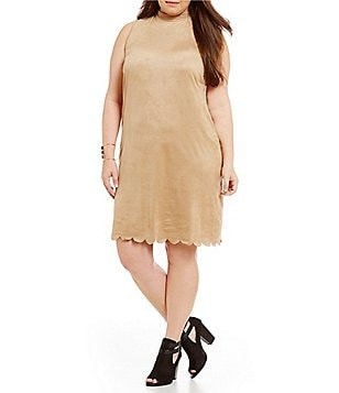 Moa Moa Plus Keyhole Back Mock Neck Tunic Dress