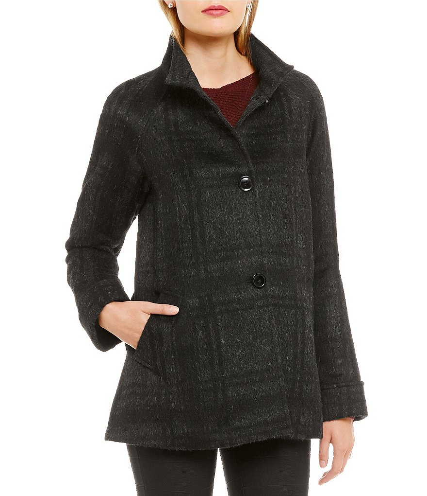 Katherine Kelly Alpaca-Blend Stand Collar A-Line Coat
