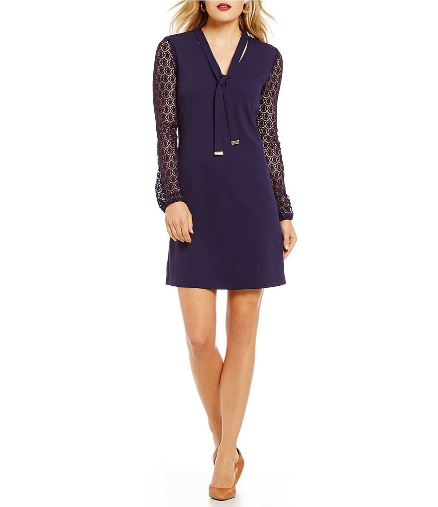 Jessica Simpson Scuba Shift Tie-Neck Lace Dress