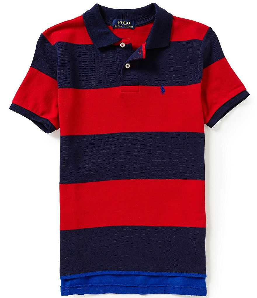 Ralph Lauren Childrenswear Big Boys 8-20 Wide-Stripe Short-Sleeve Mesh Polo Shirt