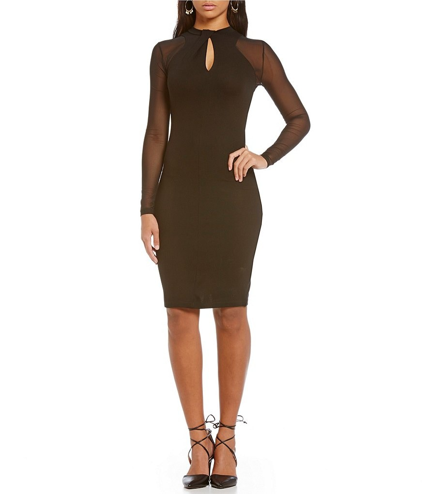 French Connection Tania Tuck Keyhole Long Sleeve Dress