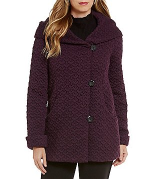 Gallery Cozy Fleece Hooded Shawl Collar Coat