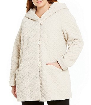 Gallery Plus Cozy Fleece Hooded Shawl Collar Coat
