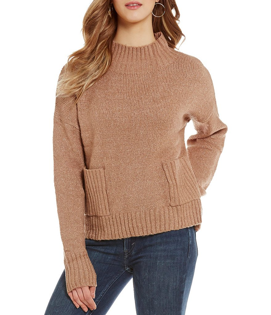 So It Is Two-Pocket Mock Neck Pullover Sweater