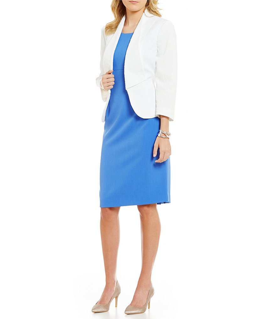 Kasper Open Shawl Jacquard Jacket & Solid Stretch Crepe Sheath Dress