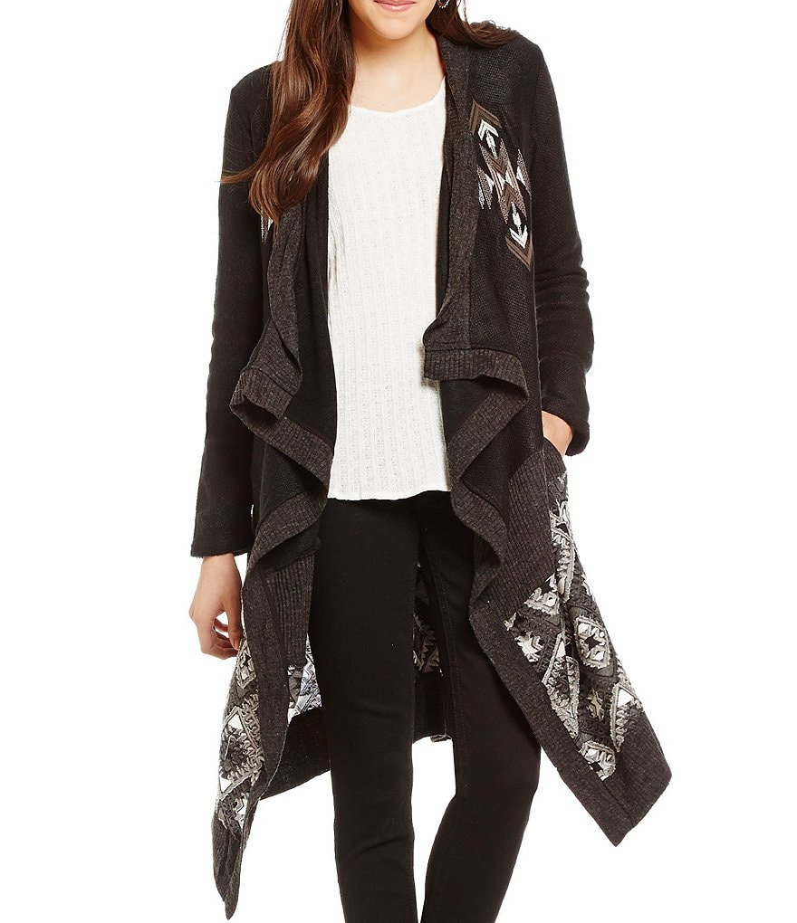 Miss Me Long Embroidered Drape Cardigan