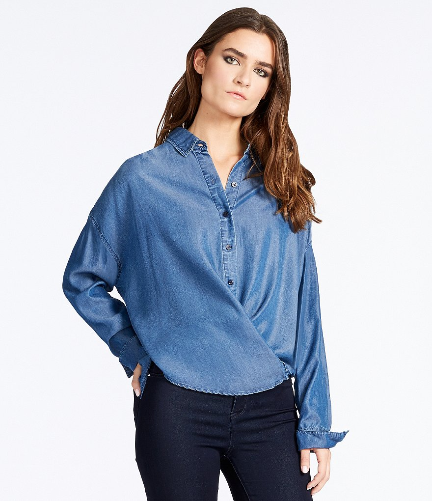William Rast Aster Crossfront Ombre Chambray Blouse