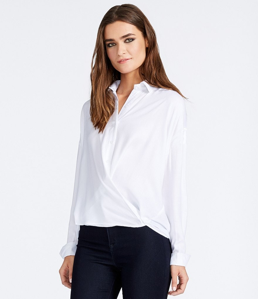 William Rast Aster Crossfront Herringbone Blouse