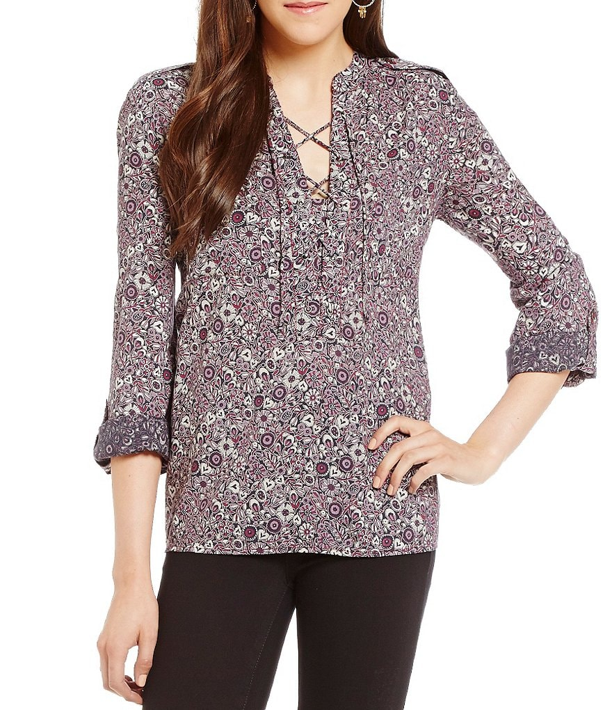 William Rast Lily Romance Floral Lace-Up Blouse