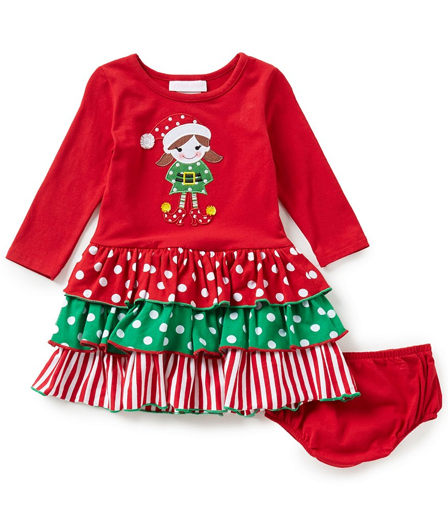 Bonnie Baby Baby Girls 12-24 Months Christmas Elf Mixed-Media Dress