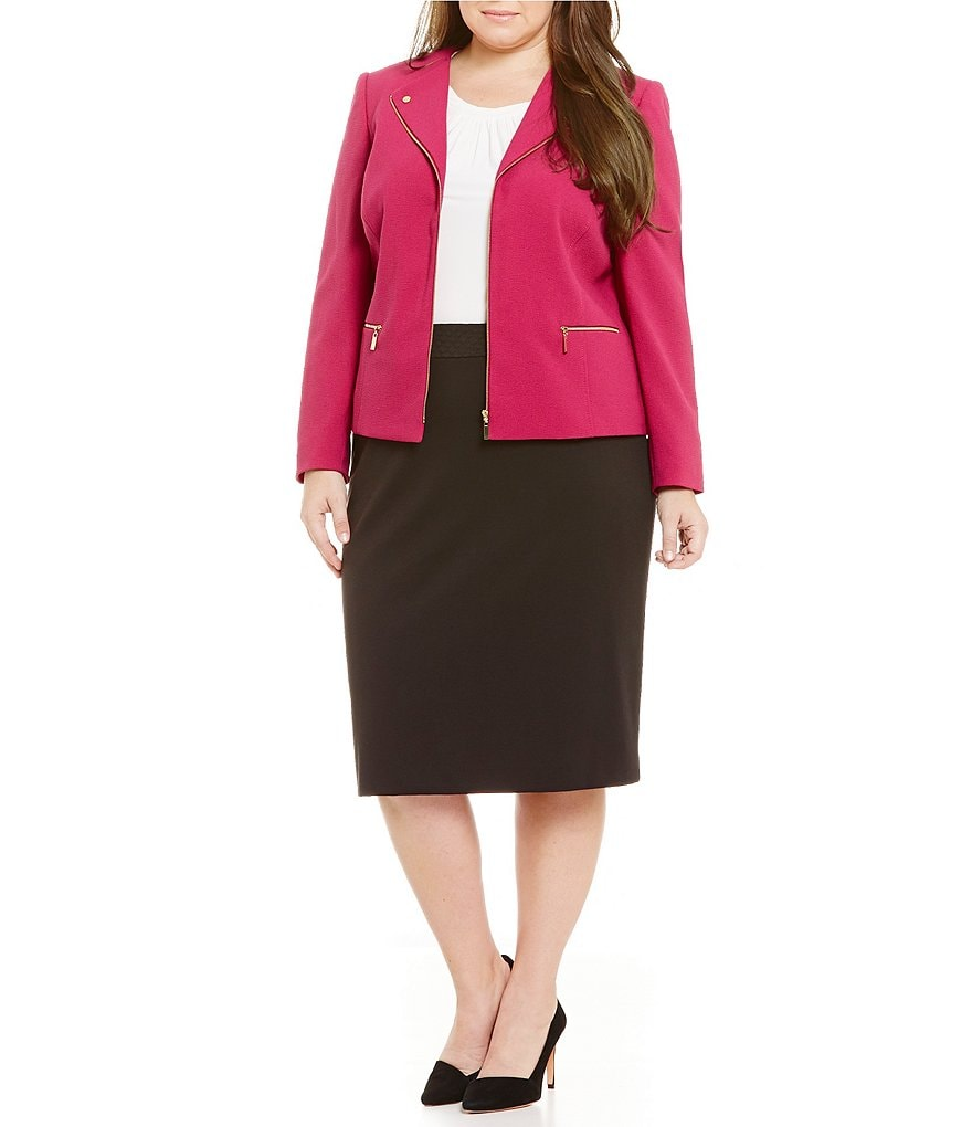 Tahari ASL Plus Wing Collar Zip-Front Jacket & Quilted Waist Straight Skirt