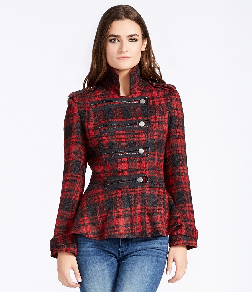 William Rast Plaid Cadet Military Jacket