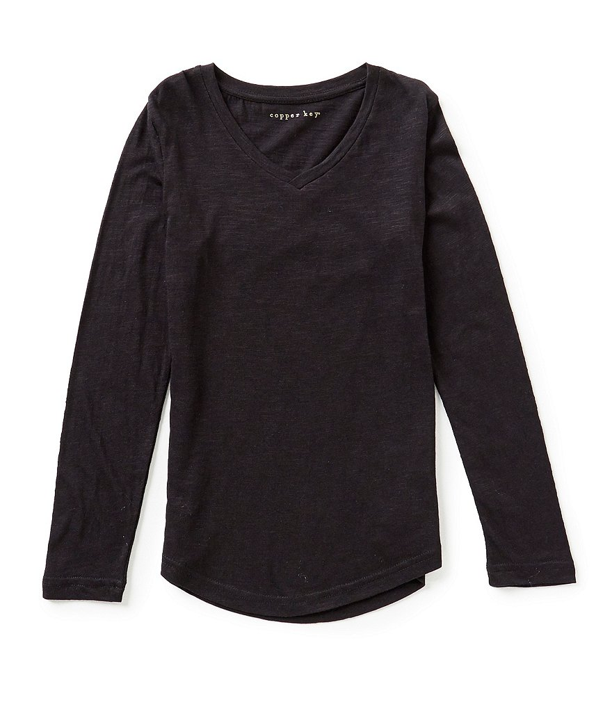 Copper Key Big Girls 7-16 V-Neck Long Sleeve Tee