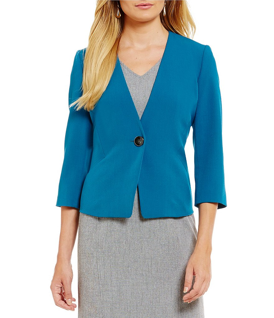 Kasper Petite 1-Button Stretch Crepe Collarless Jacket