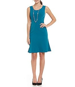 Kasper Petite Solid Stretch Crepe Fit-and-Flare Dress Image