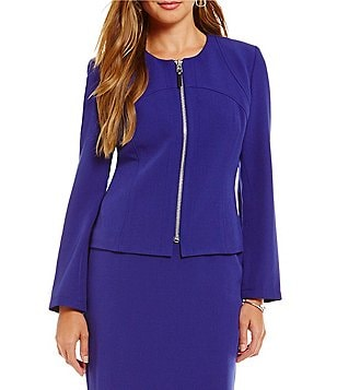 Kasper Petite Stretch Crepe Zip Front Jacket