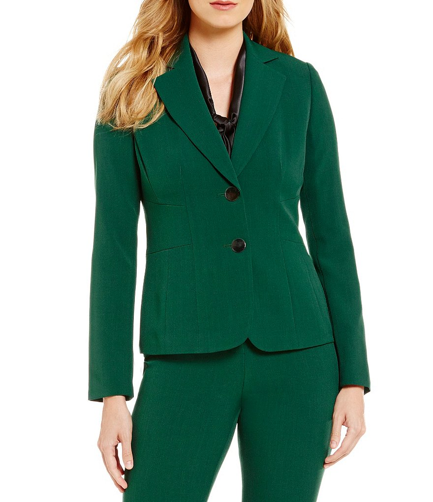 Kasper Petite Stretch Crepe 2 Button Notch Collar Jacket