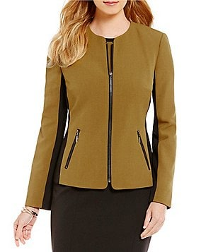 Kasper Petite Stretch Crepe Colorblock Zipper Front Jacket