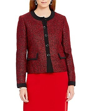 Kasper Petite Long-Sleeve Tweed Button-Front Jacket