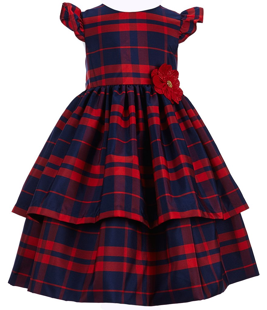 Pippa & Julie Little Girls 2T-6X Plaid Flutter Sleeve Dress