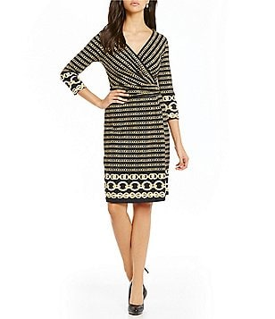 J.McLaughlin Brea 3/4 Sleeve Faux Wrap Dress