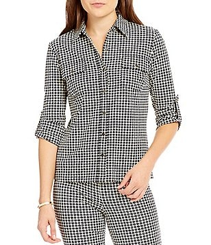 J.McLaughlin New Monroe Collared 3/4 Roll-Tab Sleeve Top