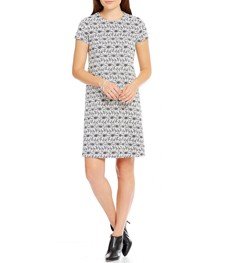 J.McLaughlin Crew Neck Cap Sleeve Swing Dress