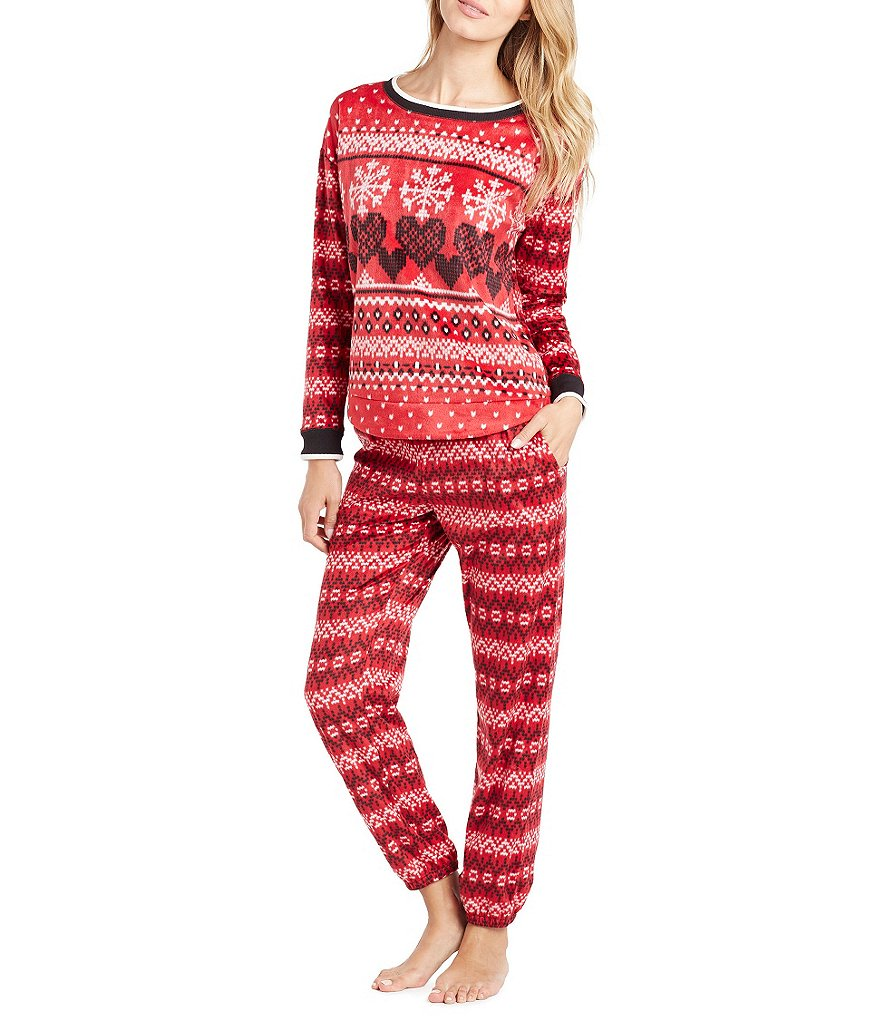 Kensie Heart Fair Isle Microfleece Pajamas
