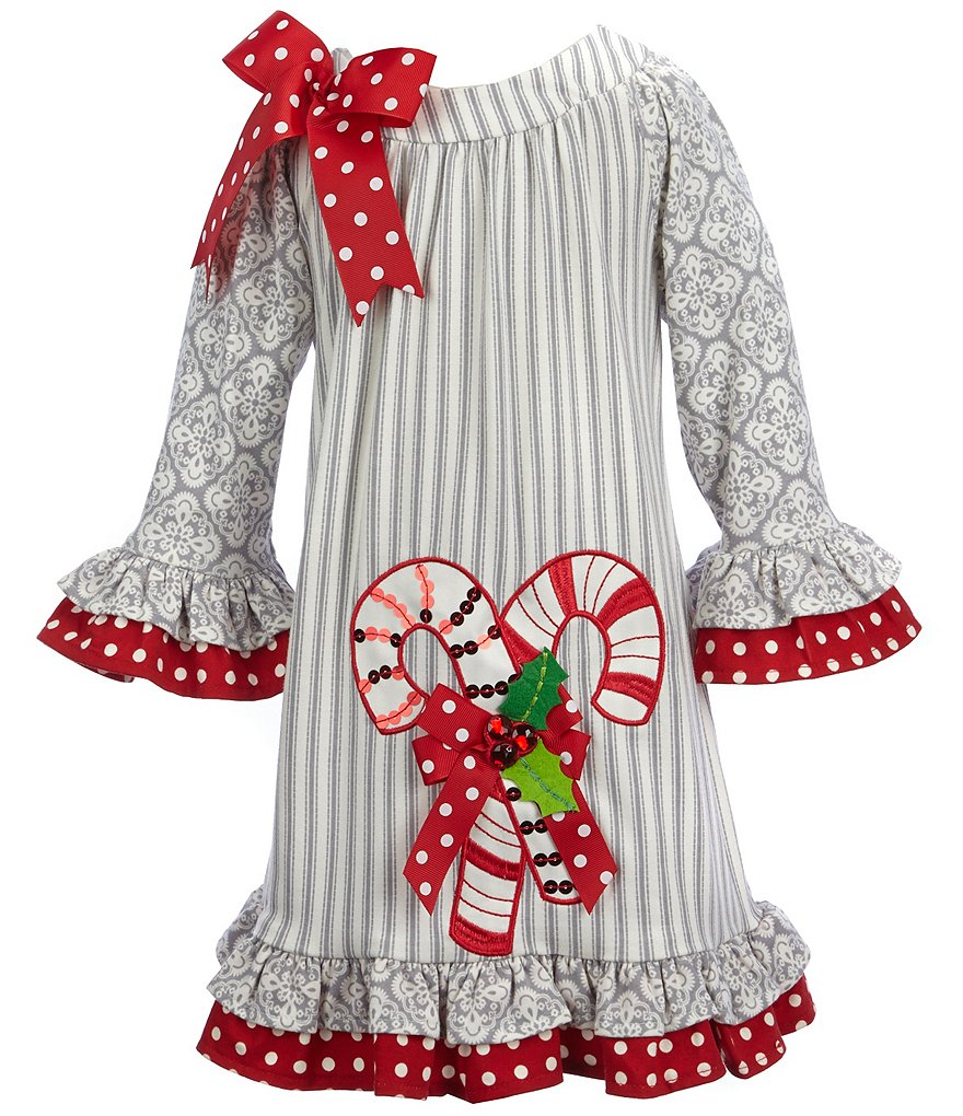 Rare Editions Little Girls 2T-6X Christmas Candycane Dress