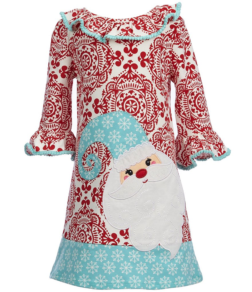 Counting Daisies Little Girls 2T-6X Demask Santa Christmas Dress