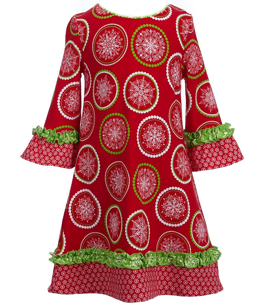 Counting Daisies Little Girls 2T-6X Christmas Printed Knit Dress
