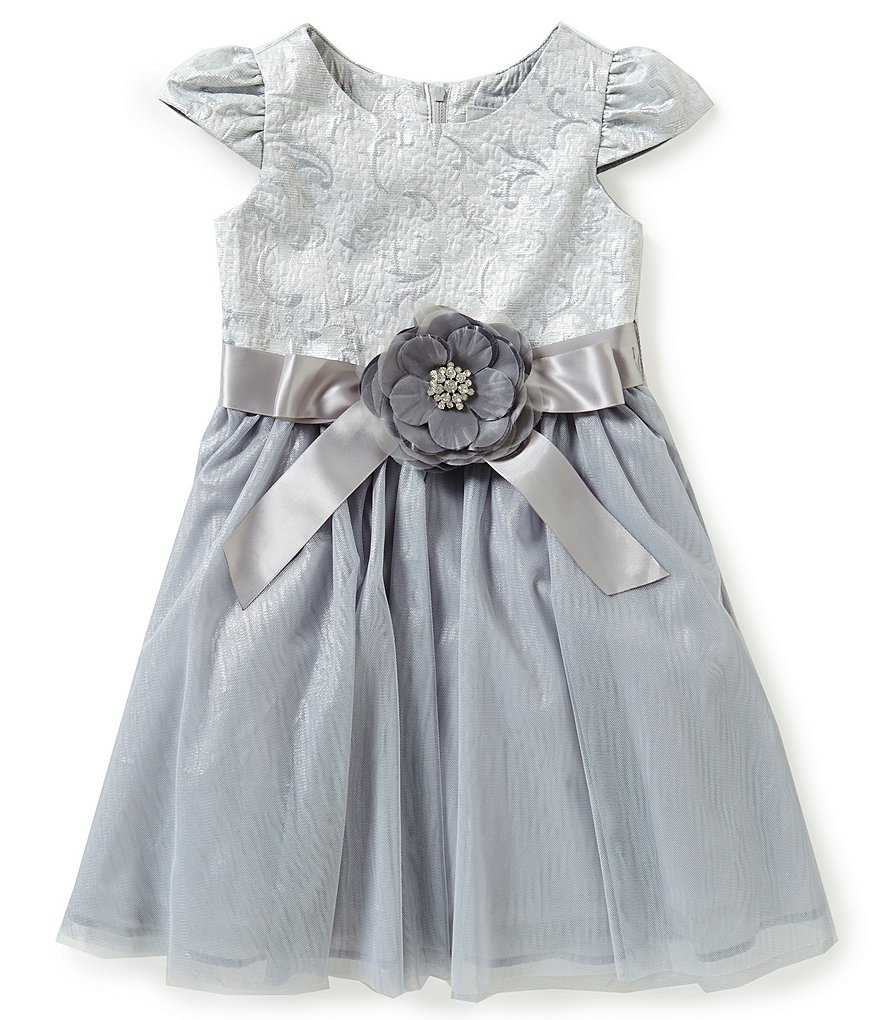 Rare Editions Little Girls 2T-6X Flower-Appliqué Bow Brocade Bodice Mesh Skirt Dress