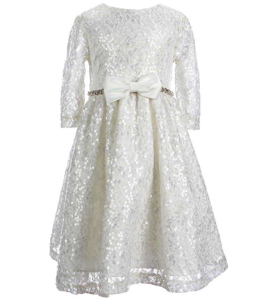Chantilly Place Little Girls 2T-6X Sequin-Lace Rhinestone-Trim Dress