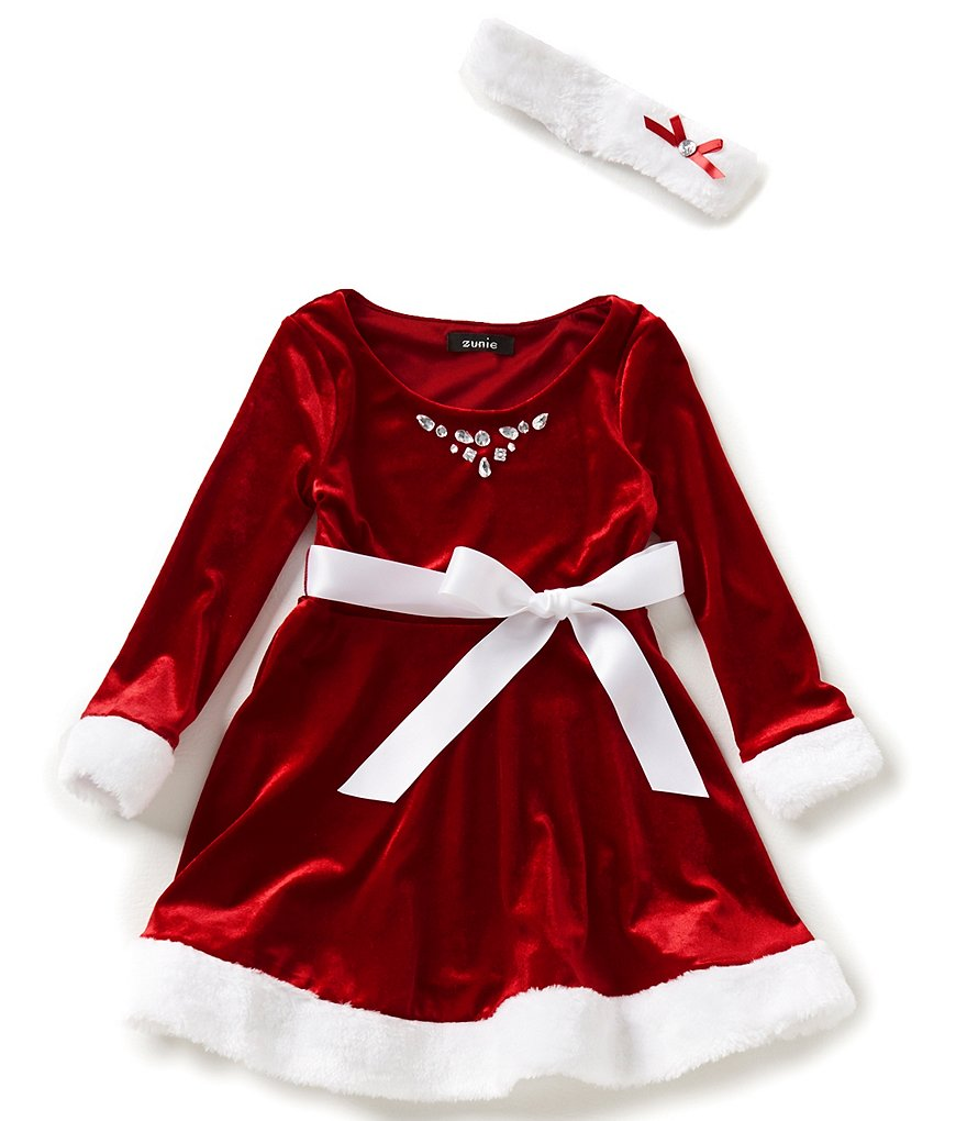 Zunie Little Girls 4-6X Faux-Fur Trimmed Santa Dress