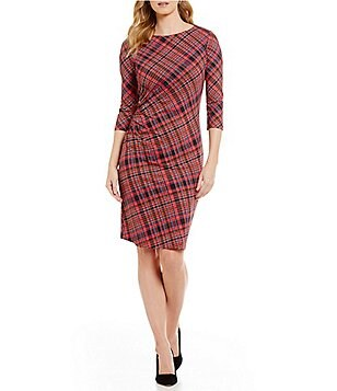 J.McLaughlin Sage Ruched 3/4 Sleeve Plaid Dress