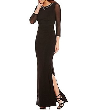 Laundry by Shelli Segal Embellished Neck 3/4 Mesh Sleeve Gown
