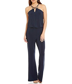 Laundry by Shelli Segal Halter Neck Sleeveless Solid Jumpsuit