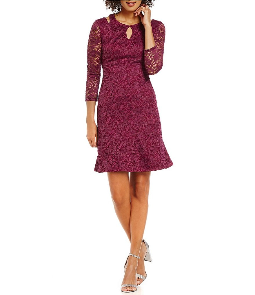Laundry by Shelli Segal 3/4 Sleeve Stretch Lace Dress