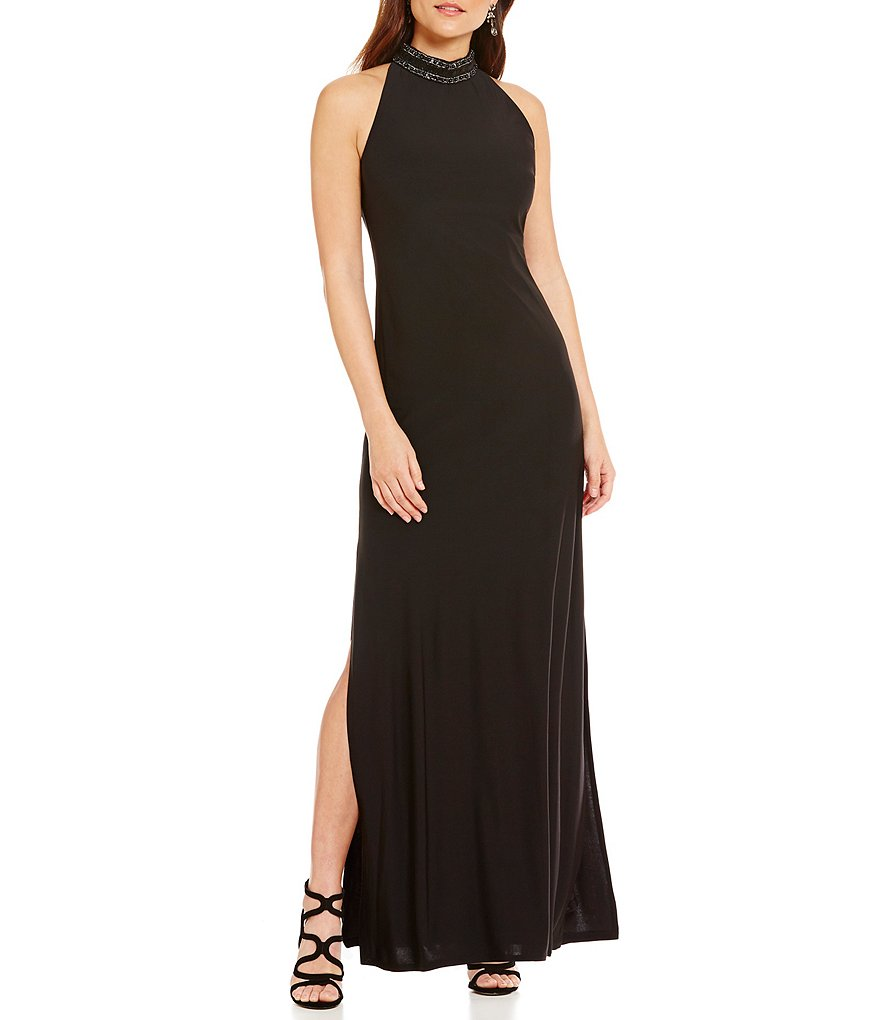 Laundry by Shelli Segal Embellished Mock Neck Jersey Gown
