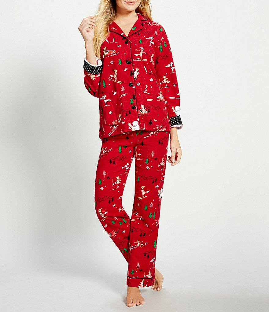 PJ Salvage Skiing Foxes Flannel Pajamas
