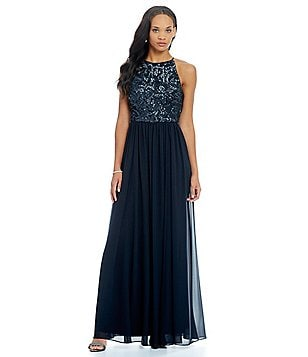 Vera Wang Beaded Halter A-Line Gown