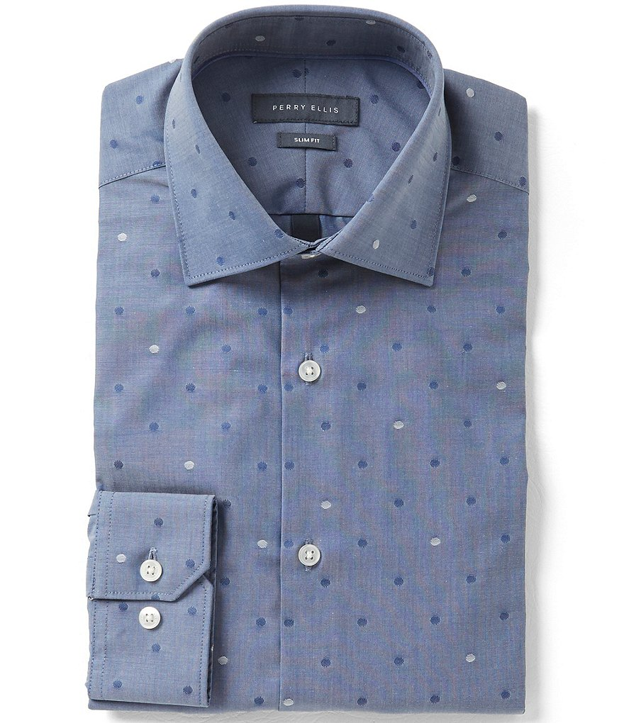 Perry Ellis Non-Iron Slim-Fit Comfort Spread Collar Dotted Dress Shirt