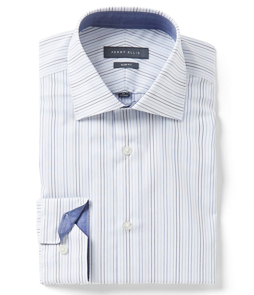 Perry Ellis Non-Iron Slim-Fit Comfort Spread Collar Striped Dress Shirt